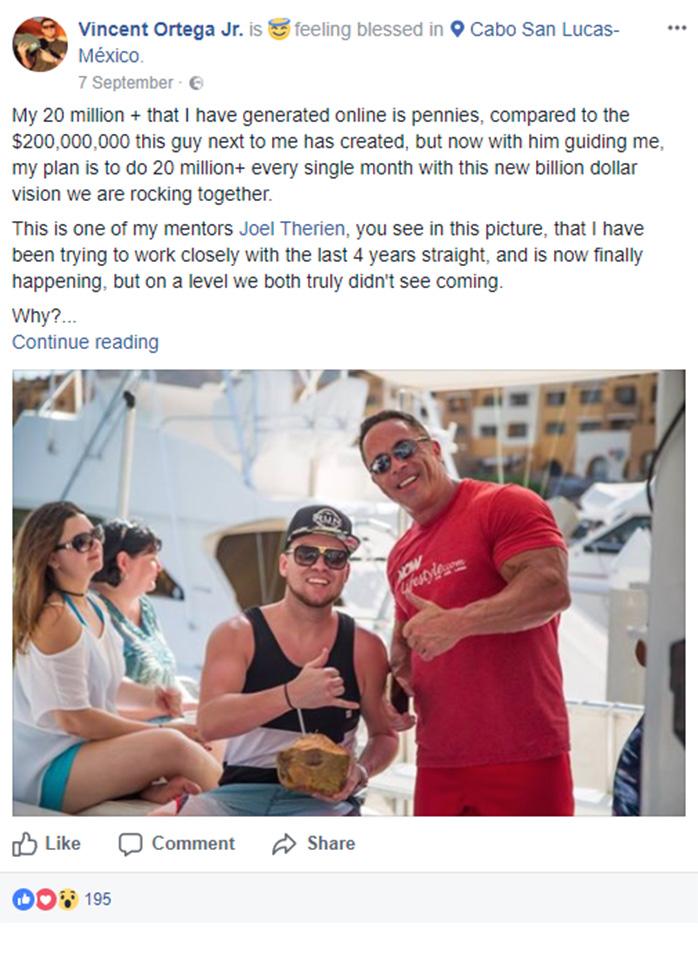 Vincent Ortega Jr. Facebook Post
